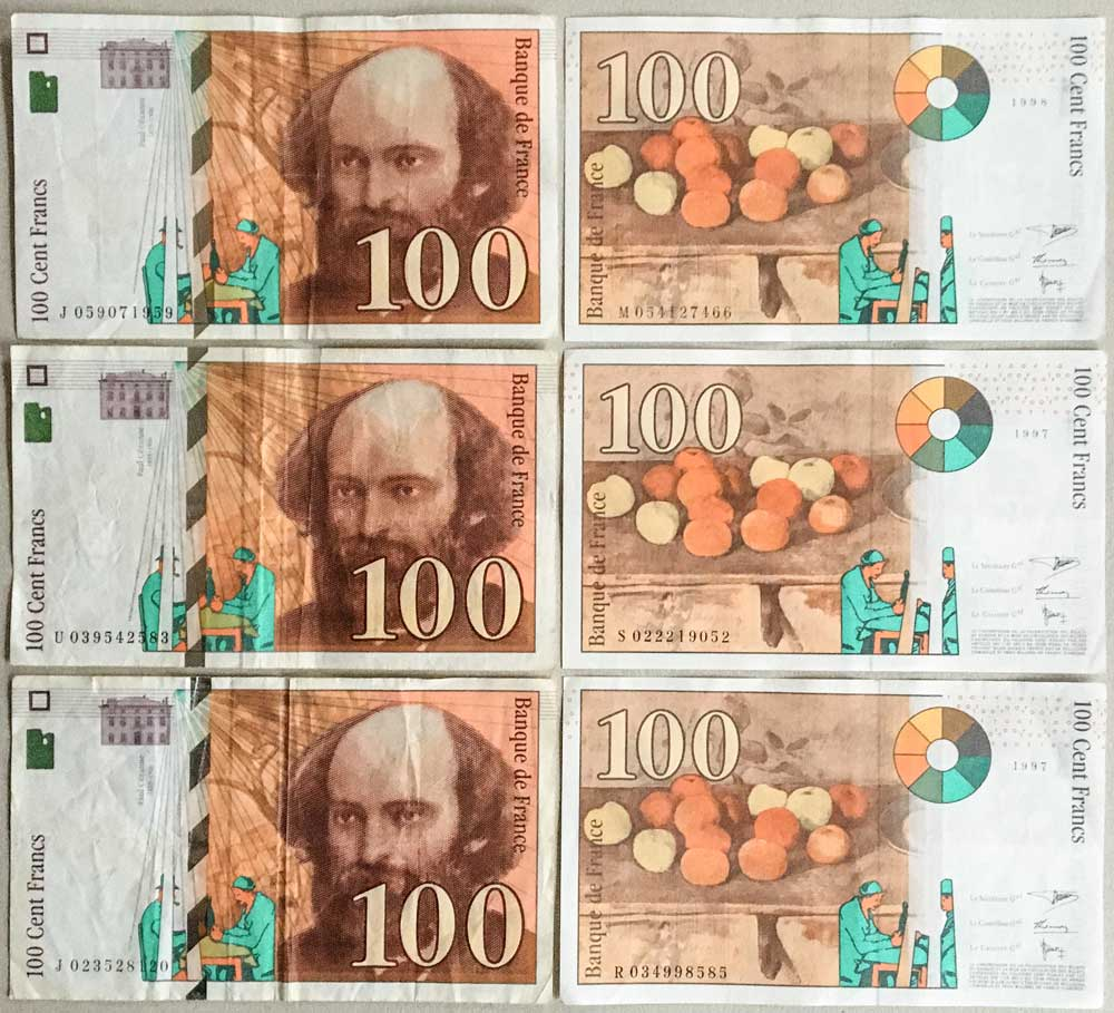 Cezanne and his apples depicted on 100 French Franc bank note in the 1990s