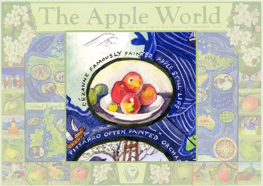 The Apple World Map by Helen Cann commissioned by and licensed to the Cider Museum, Brightspace Foundation and National Trust Copyright © Helen Cann 2020