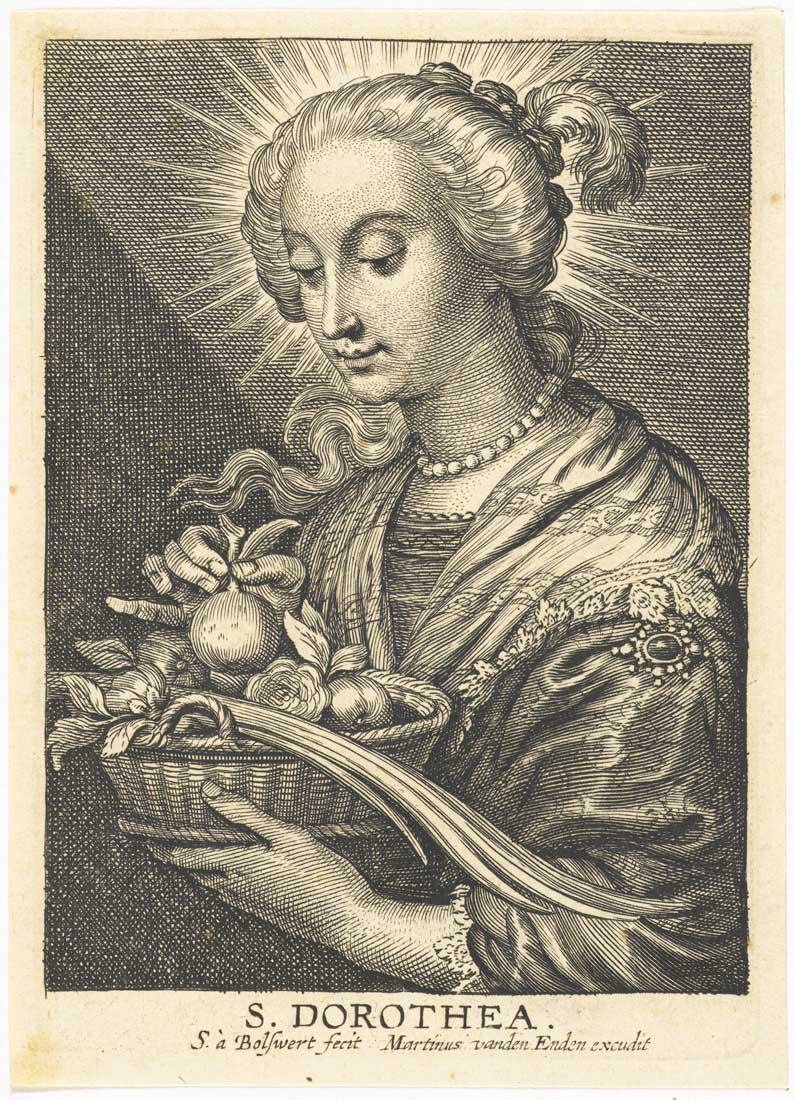 Bolswert (engraving) after Peter Paul Rubens - St Dorothea with basket of fruit and roses 1596-1659 © Rijksmuseum Amsterdam