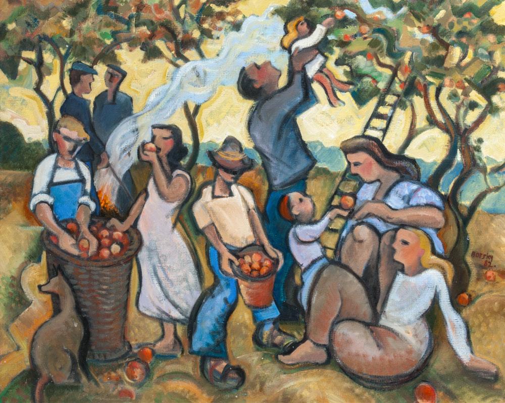 Jiri Borsky - Apple Gatherers (1982) Edinburgh Lothian Health Foundation art collection © the artist