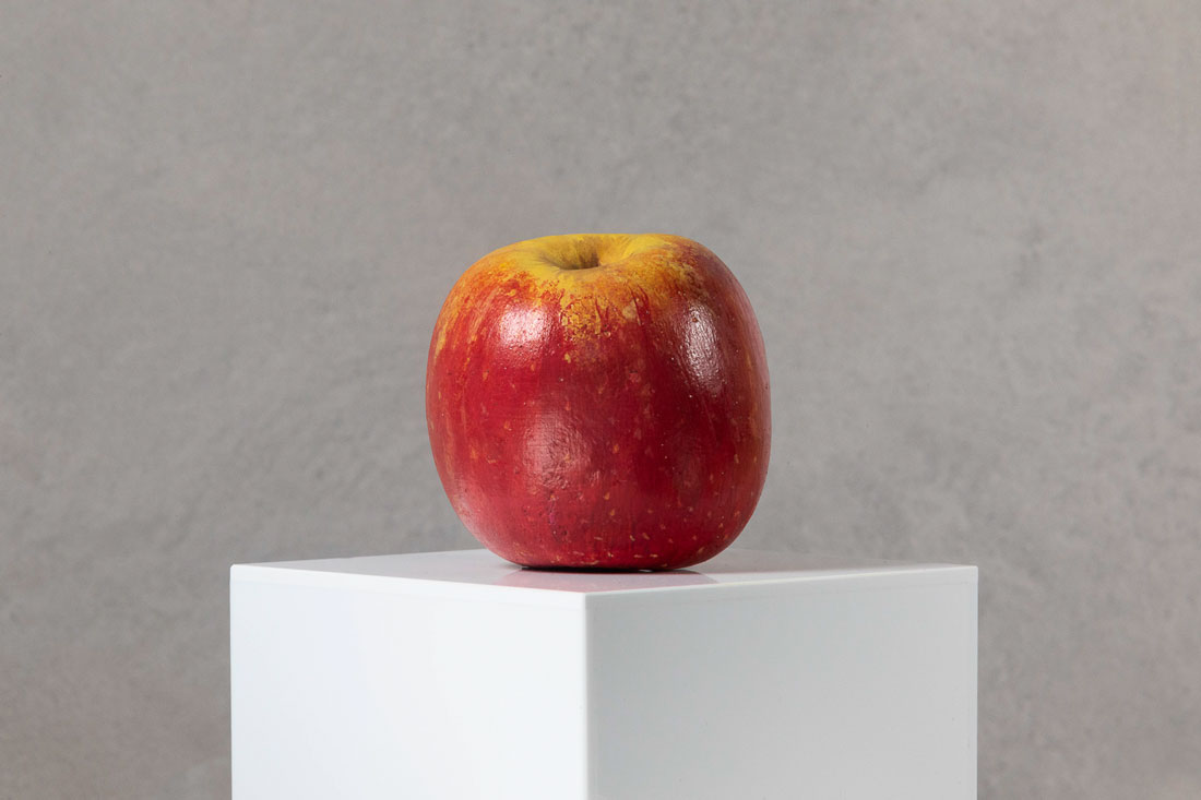 Model of Cripps Pink apple by Lottie Sweeney commissioned by Hereford Cider Museum Trust for Apples & People