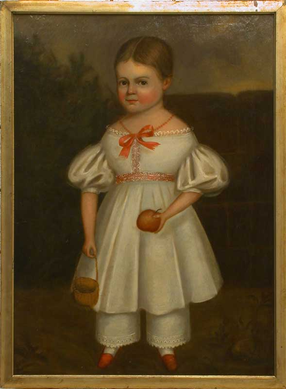 Unknown, American - Portrait of a young girl holding an apple c1840 © Philadelphia Museum of Art Bequest of Lisa Norris Elkins, 1950