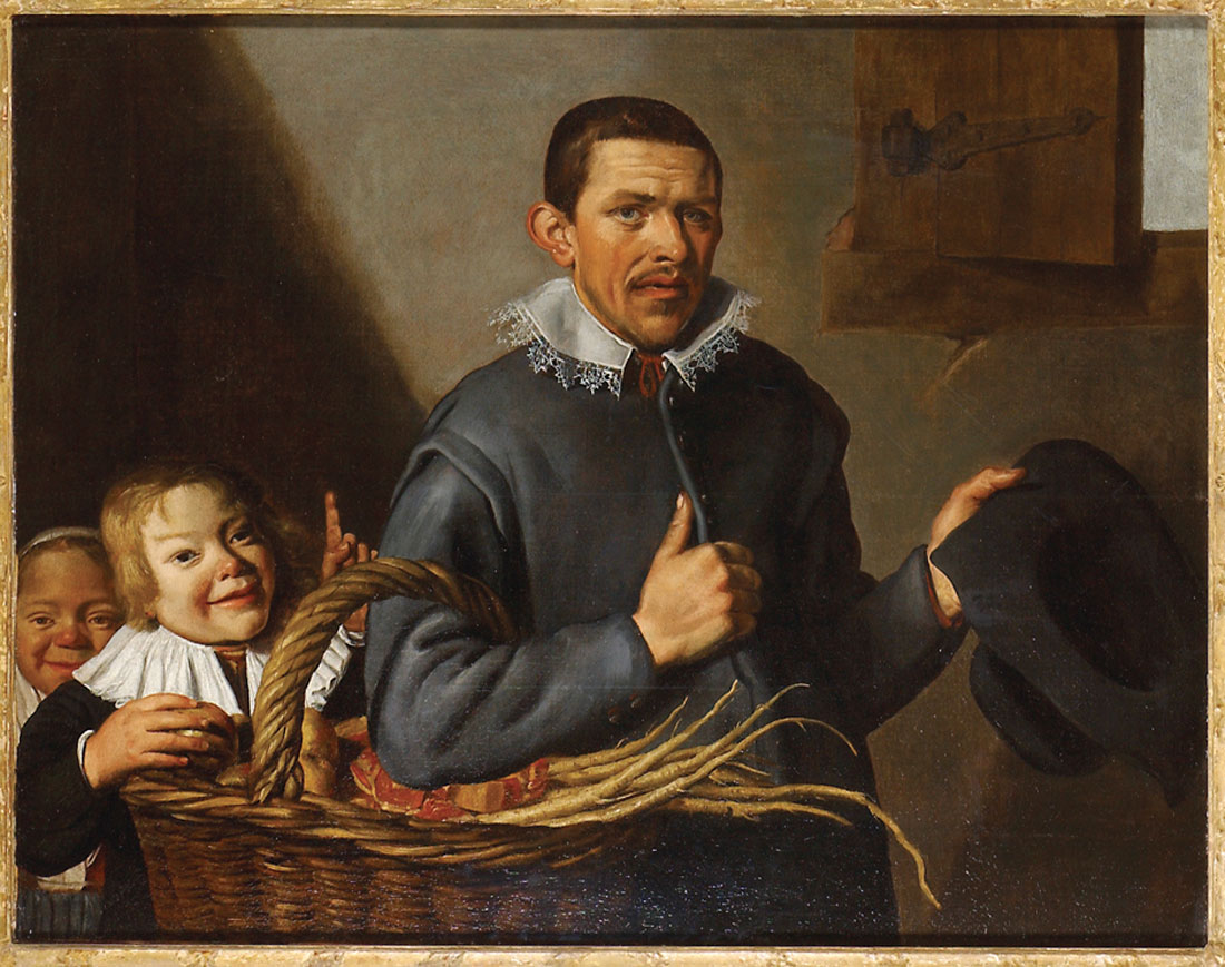 Claes Moeyaert Two boys stealing an apple from a man with a basket (1630-1655) © Ashmolean Museum