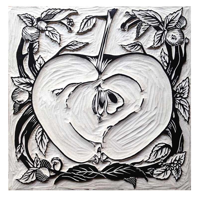 Apple motif for Haye Farm, Devon, 2017 © Bonfield Block-Printers