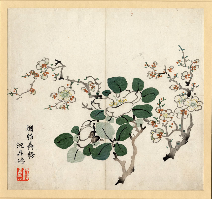 Apple blossom woodcut, Nanjing China 1633 - 1703 © The Trustees of the British Museum