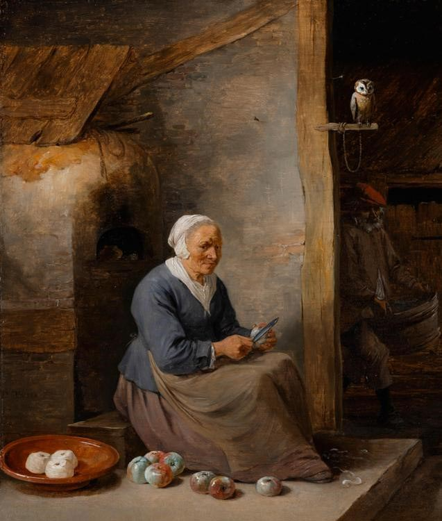 David Teniers - Interior, with an old woman peeling apples c1640-60 © The Fitzwilliam Museum, Cambridge (detail)