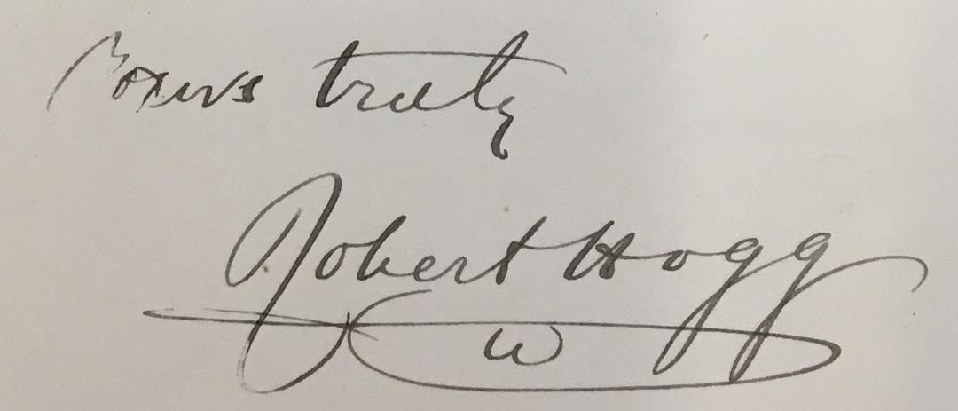 Robert Hogg signature 1878. Reproduced with the kind permission of the Board of Trustees of the Royal Botanic Gardens, Kew