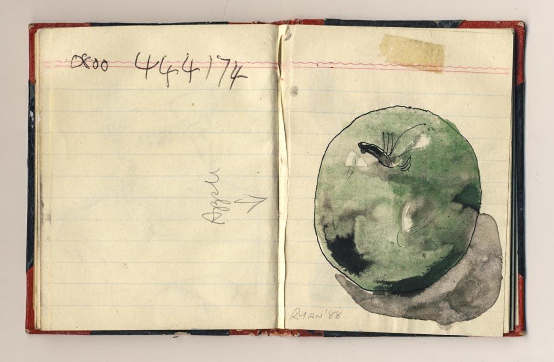 Paul Ryan, Green Apple, Sketchbook RB5, 1988